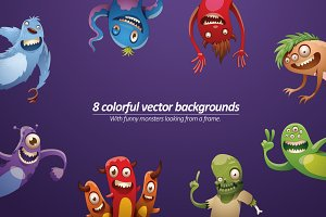 Monsters background bundle, vector