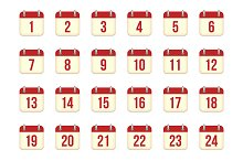 Vector calendar icons for 1-31 days