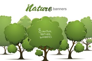 Nature banners bundle, vector