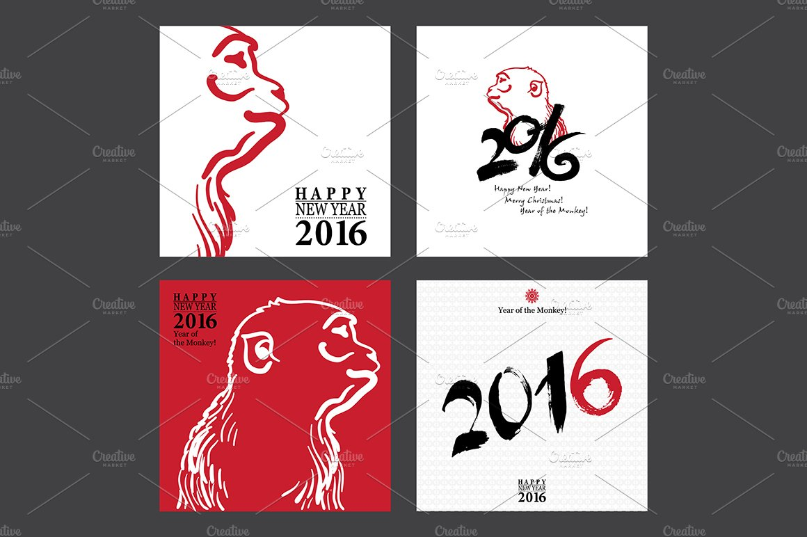 calligraphy 2016 happy new year card illustrations creative market