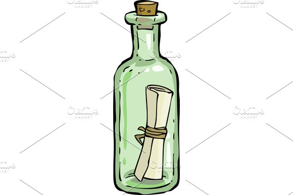 a bottle with a letter