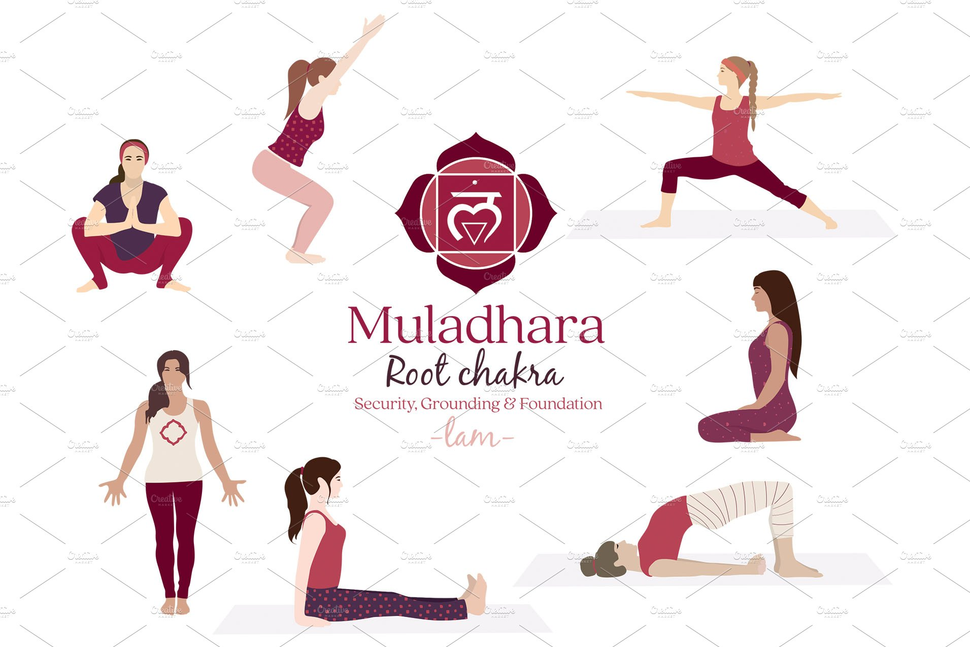 Muladhara Chakra Yoga Postures Pre Designed Photoshop Graphics Creative Market