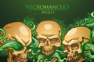 Necromancer's skulls bundle, vector