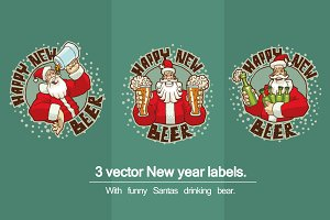 New year labels bundle, vector