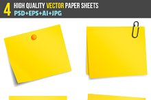 Vector yellow sticky note paper