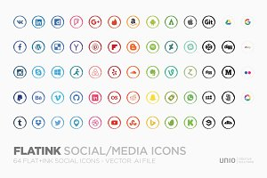 FLATink - 64 flat+ink social icons