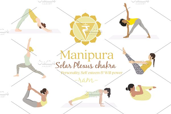 Manipura Chakra Yoga Postures Pre Designed Photoshop Graphics Creative Market