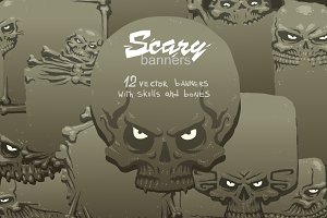 Scary banners bundle, vector