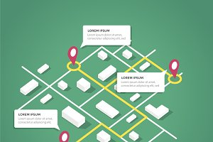 Isometric city map design elements