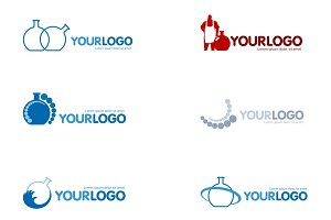 Chemical Laboratory set logo vector