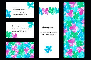 Business card with watercolor flower