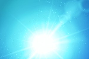 Sun burst on blue background