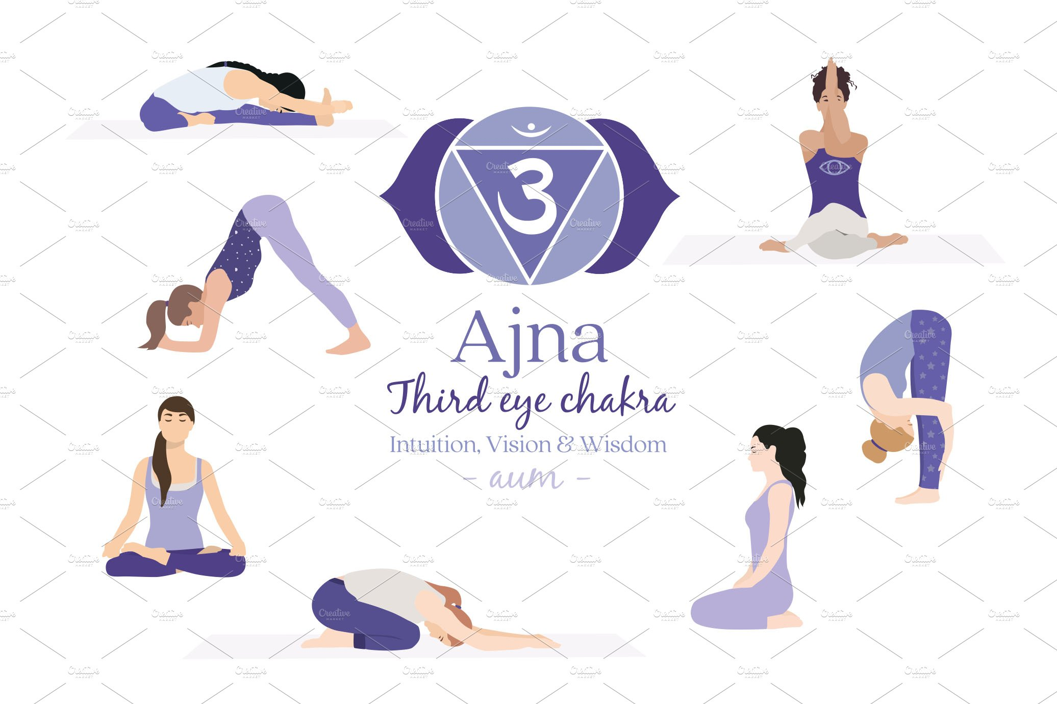 Ajna Chakra Yoga Postures  Pre-Designed Photoshop Graphics