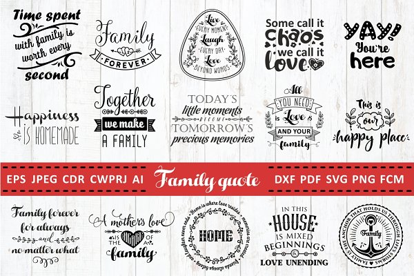 Love Family Quotes Svg Bundle Pre Designed Photoshop Graphics Creative Market