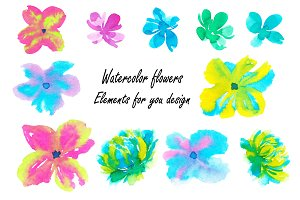 Set watercolor flowers