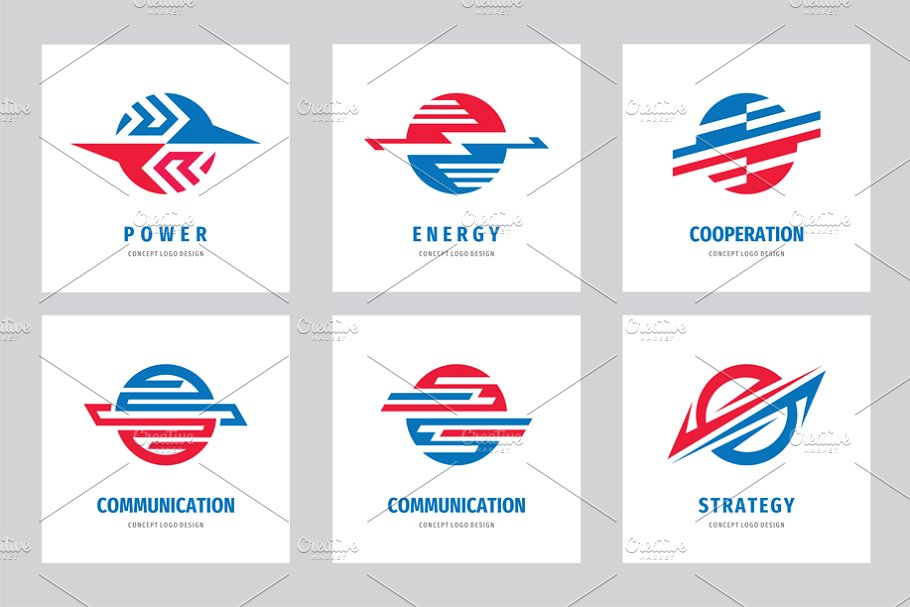 Energy Power Communication Logo Set