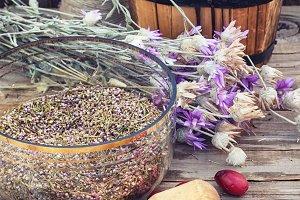 Cornel berries with herbaceous medic