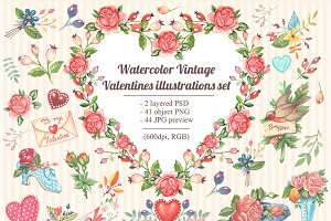 Love Valentines Vintage Watercolors