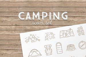 28 vector linear Camping icons