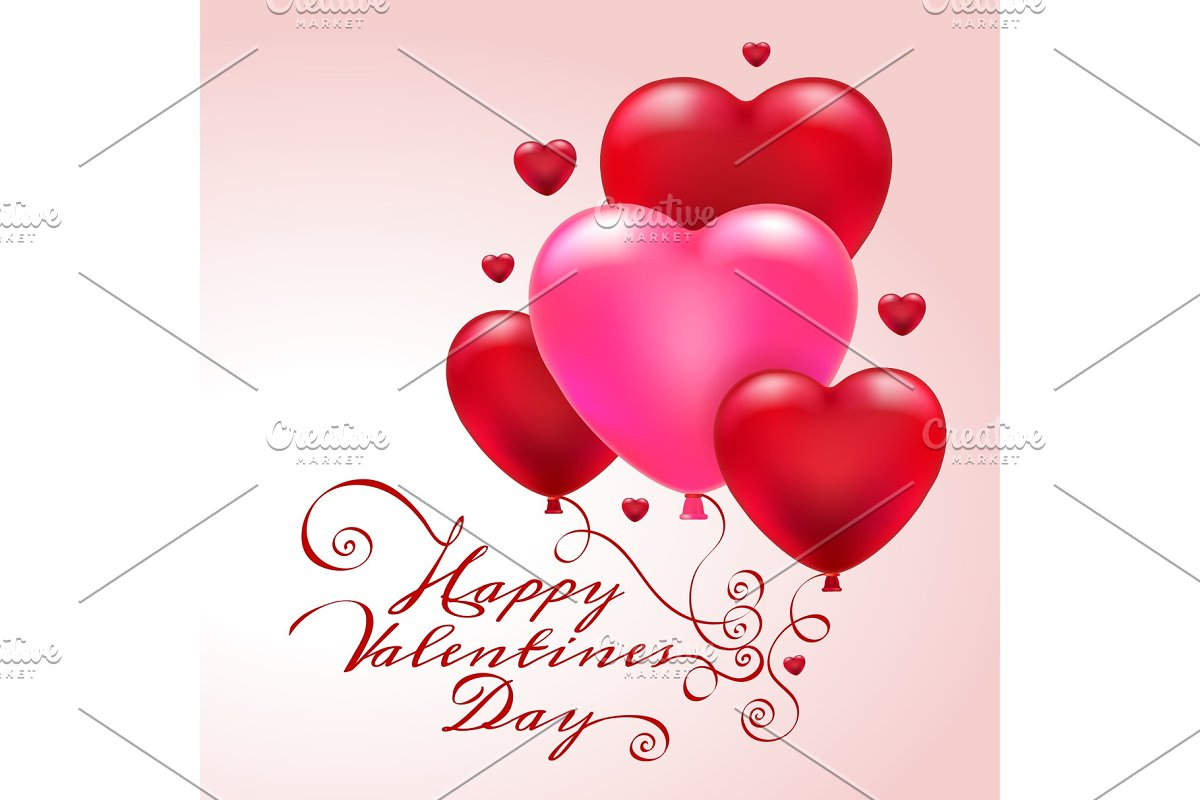 3d Heart Balloons Valentine Card