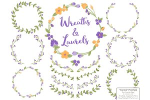 Crocus Vector Flower Wreaths