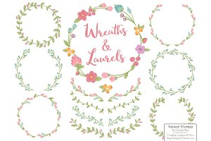 Garden Party Vector Flower Wreaths