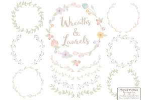 Pastel Vector Flower Wreaths