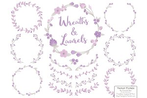 Lavender Vector Flower Wreaths