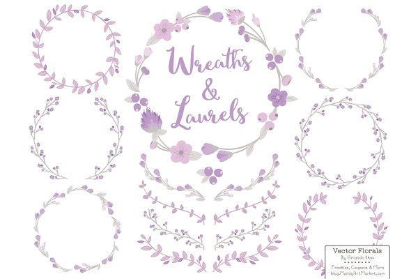 Lavender Vector Flower Wreaths