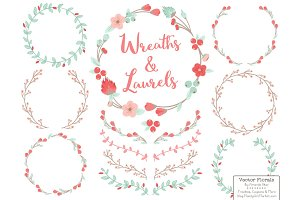 Mint & Coral Vector Flower Wreaths