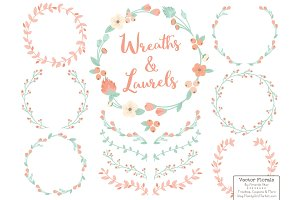 Mint & Peach Vector Flower Wreaths