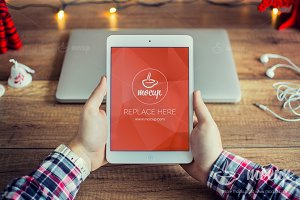 PSD Mockup iPad Christmas