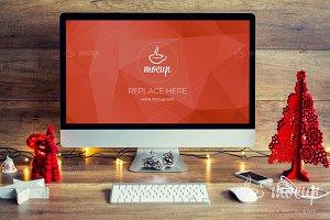 PSD Mockup iMac Christmas