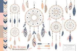 Navy & Blush Dreamcatcher Clipart