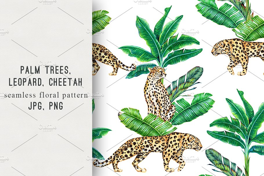 Tropical palm trees,animals pattern