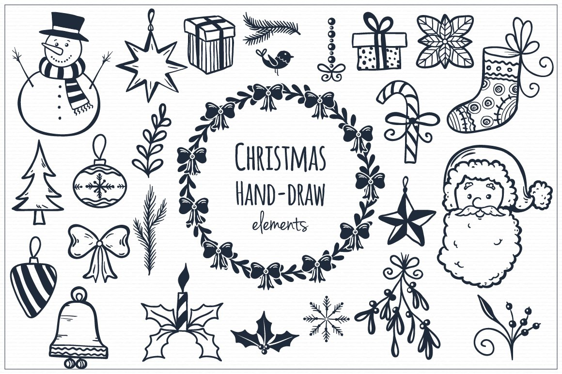 Line Drawing Christmas : Christmas hand draw elements illustrations creative market