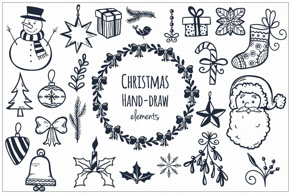 Christmas Hand Draw Elements Illustrations Creative Market