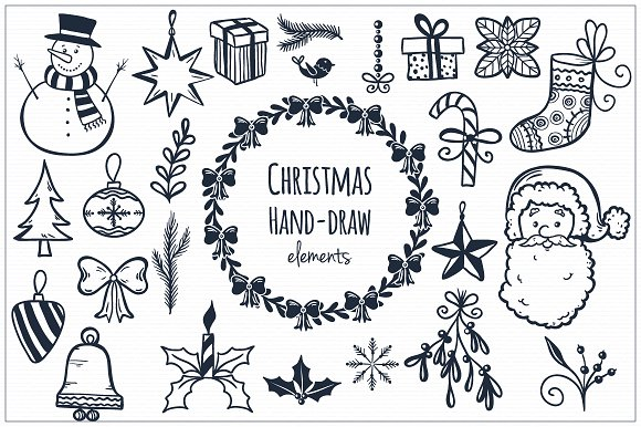 christmas hand draw elements illustrations