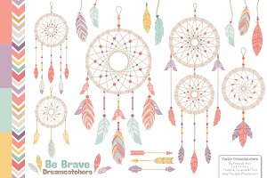 Vintage Vector Dreamcatchers Clipart