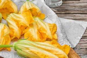 Yellow pumpkin flowers,as an element