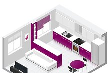 Studio apartment isometric icon set