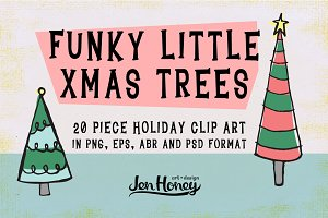 Funky Little X-Mas Trees - Clip Art+