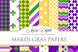 Mardi Gras Background Digital Paper