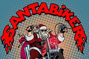 Santa Claus biker Christmas