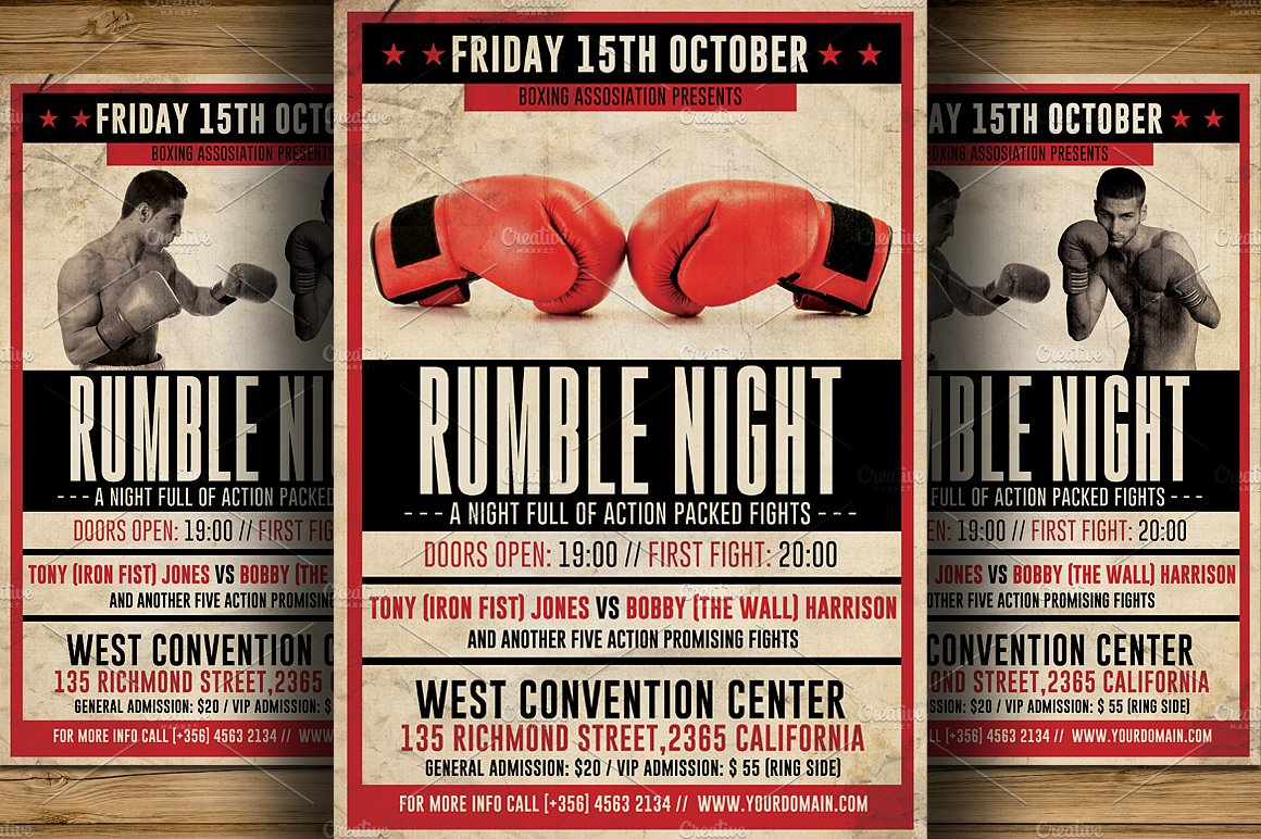 vintage boxing flyer template flyer templates creative market