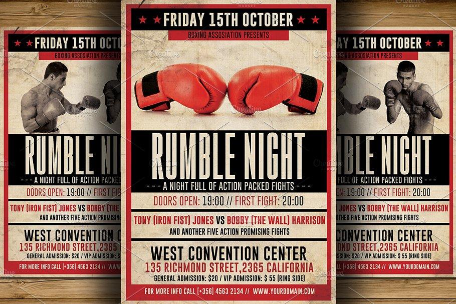 Vintage Boxing Flyer Template Flyer Templates Creative Market
