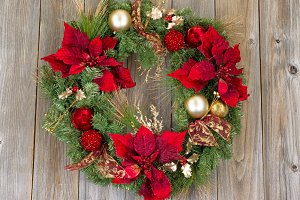 Happy Holidays Wreath on Rustic Wood