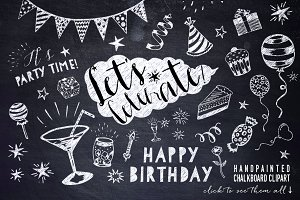 Chalkboard Party Clipart Bundle