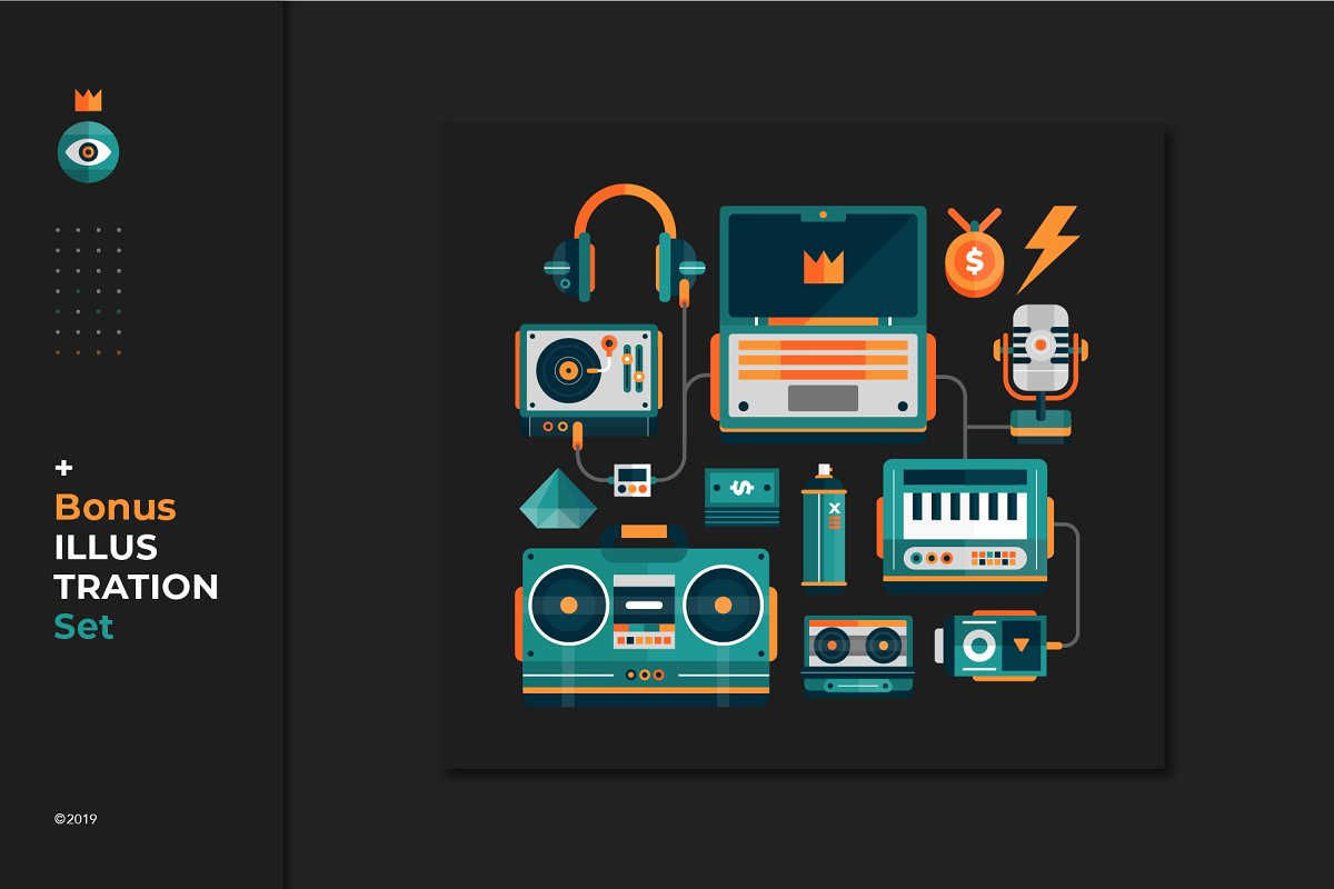 Hip Hop Seamless Pattern + 20 Icons