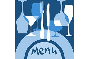Restaurant menu cover with dishware